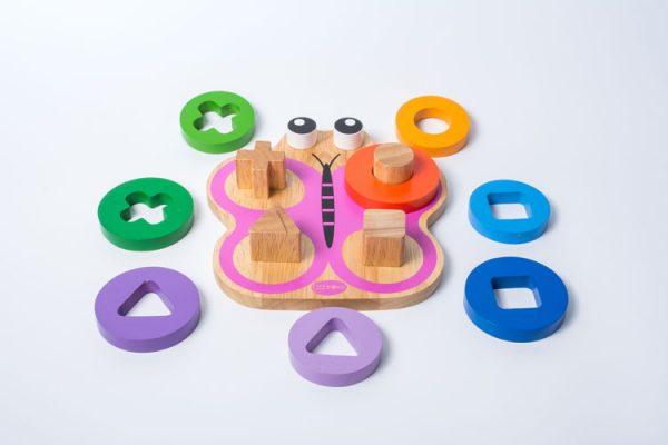 Xếp trụ hình bướm đồ chơi gỗ