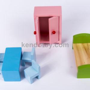đồ chơi gỗ bộ bàn ghế giường tủ nhỏ