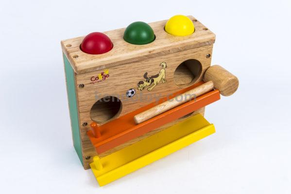 đồ chơi gỗ đập banh 2 tầng