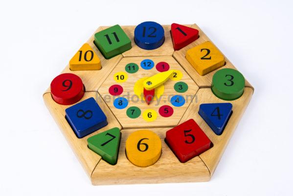 đồ chơi trẻ em bằng gỗ đồng hồ lục giác
