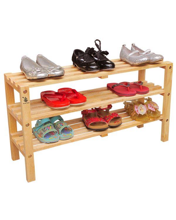 Kệ giầy trẻ em 3 tầng màu tự nhiên