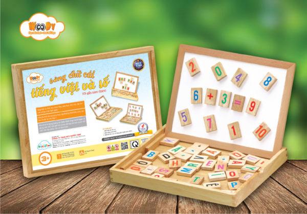 đồ chơi gỗ hộp bảng chữ cái tiếng việt và số
