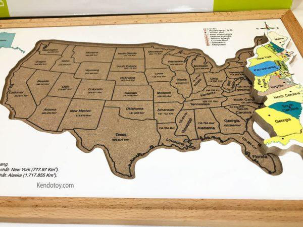 Bản đồ nước Mỹ bằng gỗ