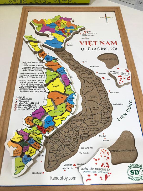 Bản đồ Việt Nam bằng gỗ tranh ghép