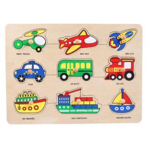 đồ chơi gỗ bộ nhận hình các phương tiện giao thông