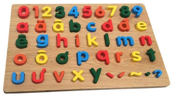 bảng chữ cái tiếng việt và số đồ chơi gỗ