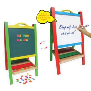 đồ chơi gỗ bảng xếp học chữ và số