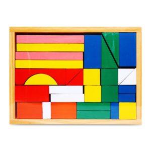 bộ xếp hình 30ct hộp gỗ đồ chơi giáo dục mầm non