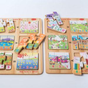 đồ chơi gỗ bé vui học toán trừ
