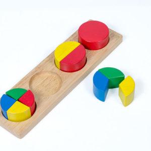 đồ chơi gỗ bộ tròn vuông phân số