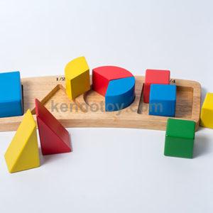 đồ chơi gỗ bộ nhận hình phân số
