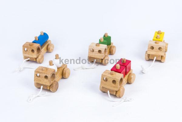 đồ chơi gỗ 5 xe chở khối