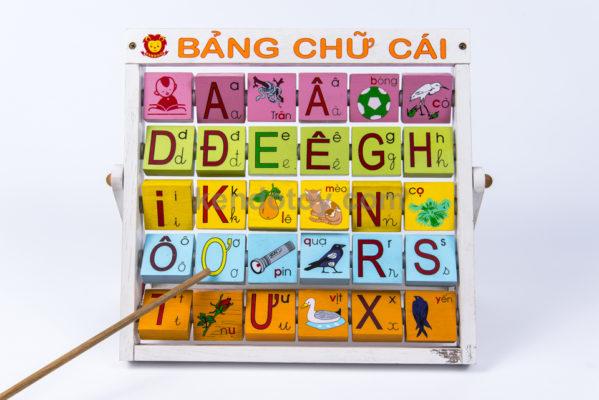 đồ chơi gỗ bảng chữ xoay tiếng việt