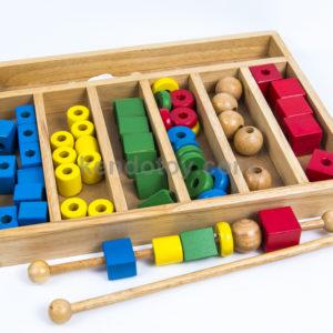 đồ chơi gỗ hộp gỗ xâu hạt