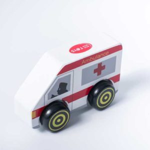 xe cứu thương đồ chơi gỗ cho bé