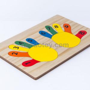 đồ chơi gỗ tranh ghép bàn tay học đếm