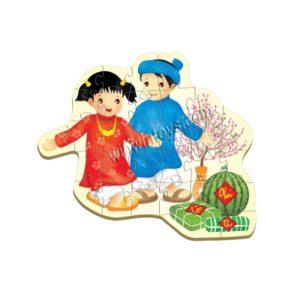 ghép hình bé vui tết Puzzle wooden toy