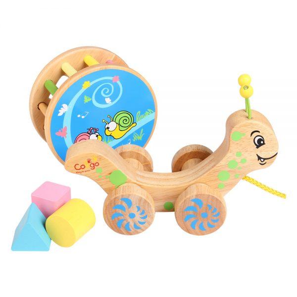 đồ chơi gỗ xe kéo ốc sên thả khối
