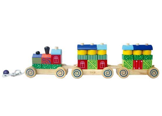 Xe lửa hoa văn đồ chơi gỗ