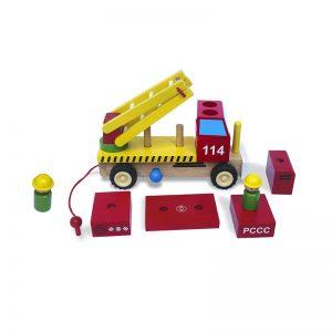 Xe thang cứu hỏa lắp ráp đồ chơi gỗ