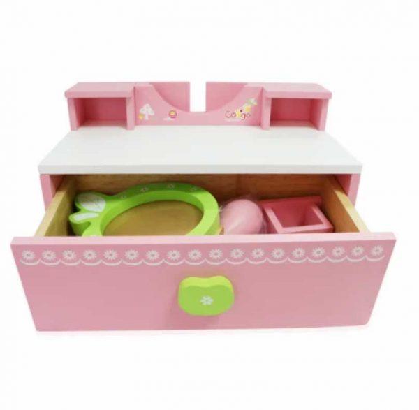 bàn trang điểm đồ chơi gỗ cho bé