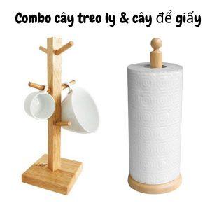 Combo Cây treo ly và cây để giấy gỗ