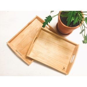 Khay đáy gỗ tay cầm oval