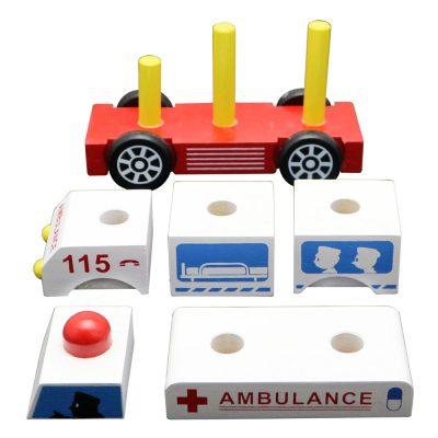 đồ chơi gỗ xe cứu thương lắp ráp