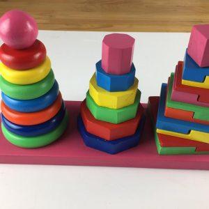 đồ chơi xếp chồng tháp ba cọc