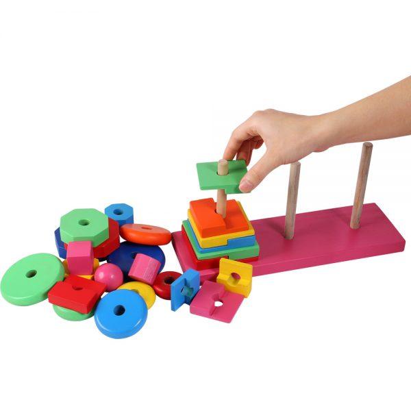 Đồ chơi gỗ xếp tháp ba cọc