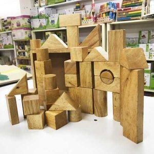 Đồ chơi xếp hình khối gỗ 34 chi tiết không màu
