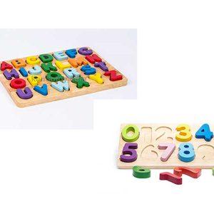 combo đồ chơi gỗ bảng chữ và số