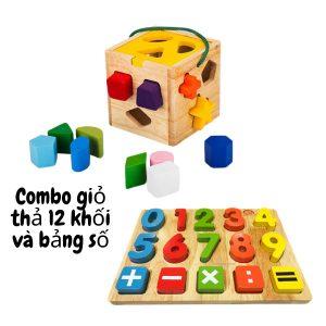 đồ chơi thả khối và bảng số gỗ