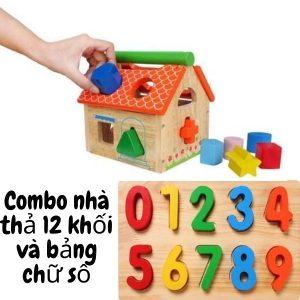 combo nhà thả 12 khối và bảng số