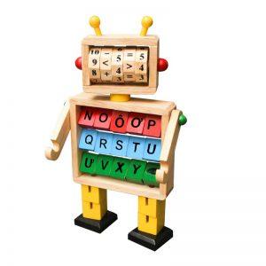 Robot học toán và chữ đồ chơi trẻ em bằng gỗ
