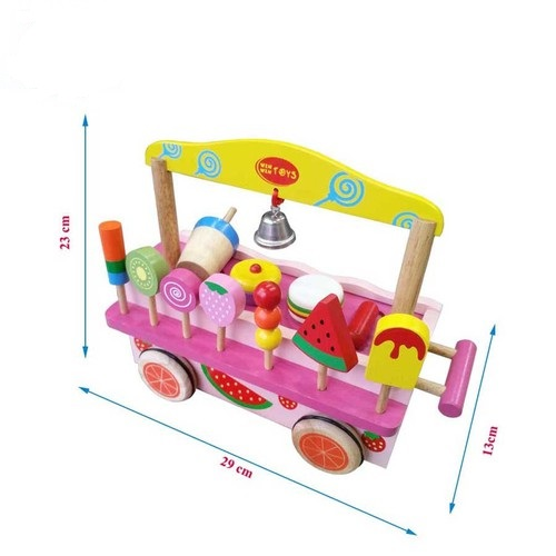 Xe bán hàng di động đồ chơi gỗ