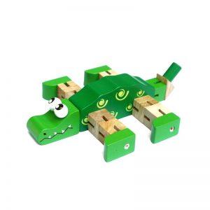 Cá sấu luồn thun đồ chơi gỗ