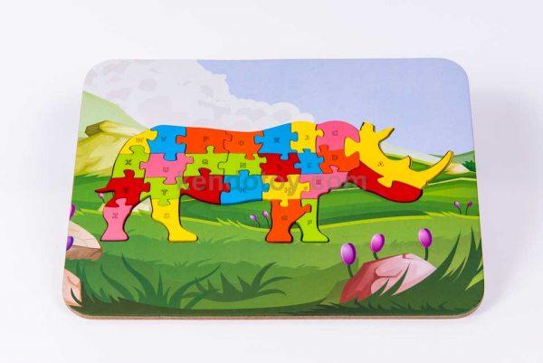Puzzle tê giác ghép hình gỗ