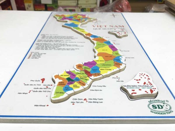 Tranh ghép bản đồ Việt Nam bằng gỗ