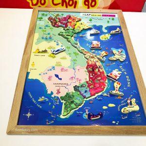 Tranh ghép bản đồ Việt Nam có nam châm A3