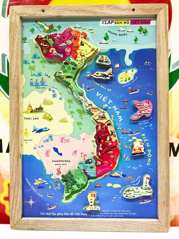 Tranh ghép bản đồ Việt Nam có nam châm A4