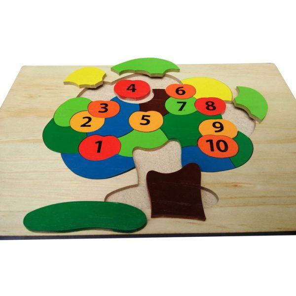 Tranh ghép cây táo học số đồ chơi gỗ