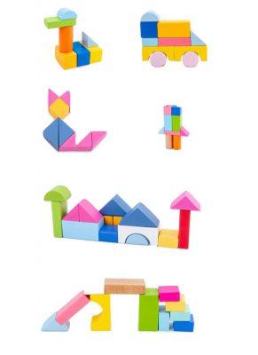 Bộ xếp hình 100 khối gỗ màu