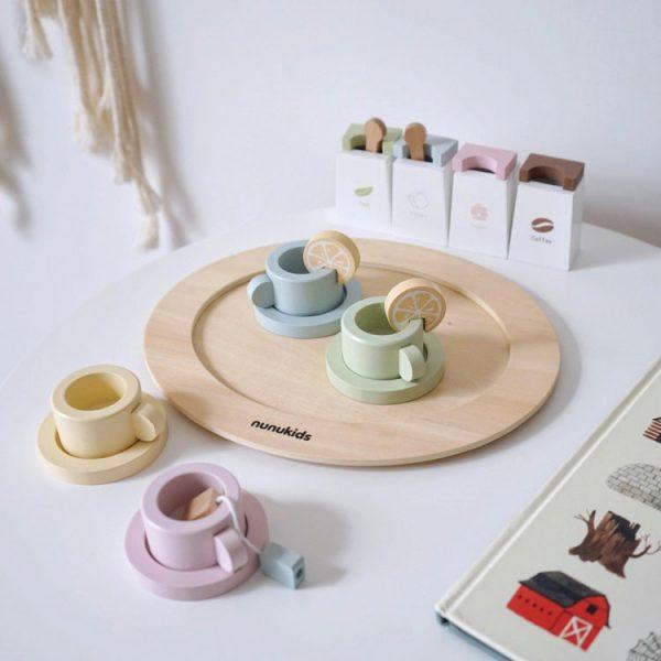 Bộ ấm trà bằng gỗ - tea party set