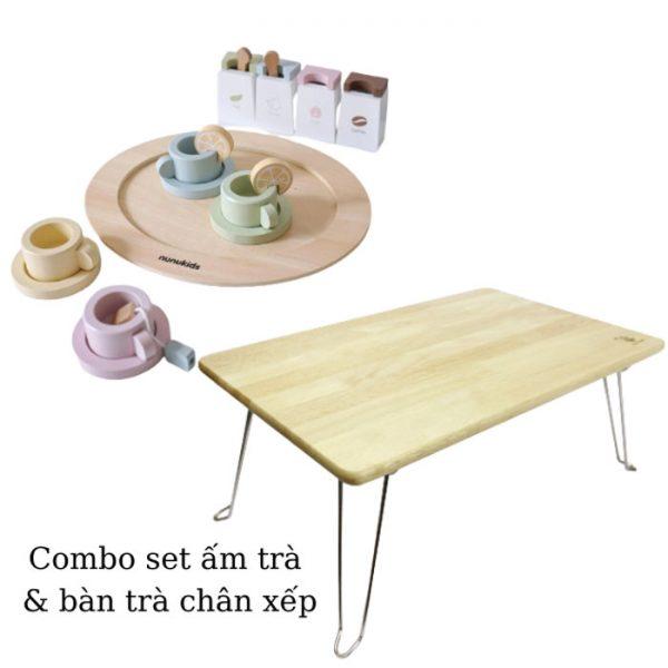 Set ấm trà đồ chơi và bàn xếp chân sắt