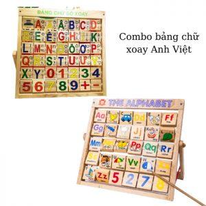 Combo bảng chữ Anh Việt khung xoay bằng gỗ